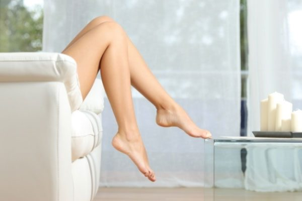 Soothing smooth legs show the results of DiolazeXL Laser Hair Removal.